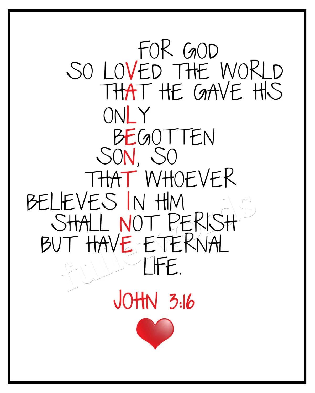 John 3:16 Bible Verse 8x10 Valentines digital by fullerwords