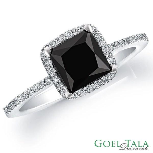 Diamond Engagement Ring 1.60 Carat Black Princess Cut