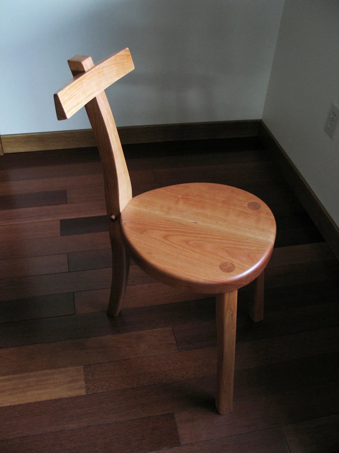 chair stools wooden modern egg chairs 3 legged cherry wood guitar stool handmade