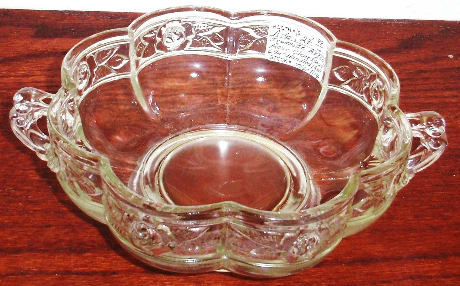 JEANNETTE GLASS AZTEC Rose No 3125 Patterm Embossed Rose