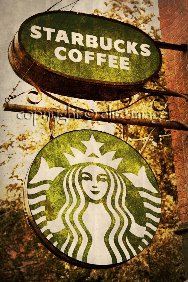 Starbucks Coffee Sign With Rust Frame Logo