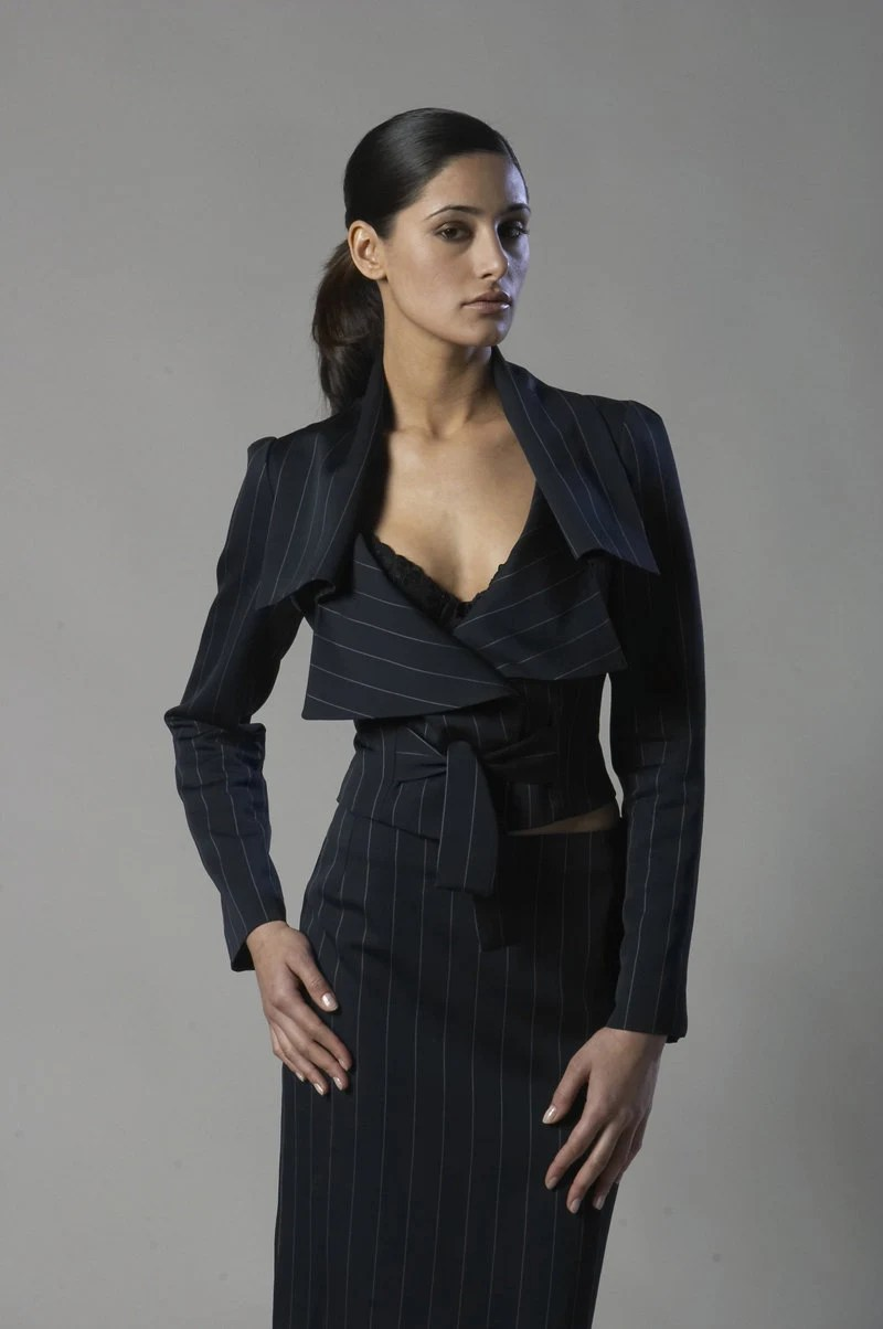 Dark navy stripe wool-viscose blend suit