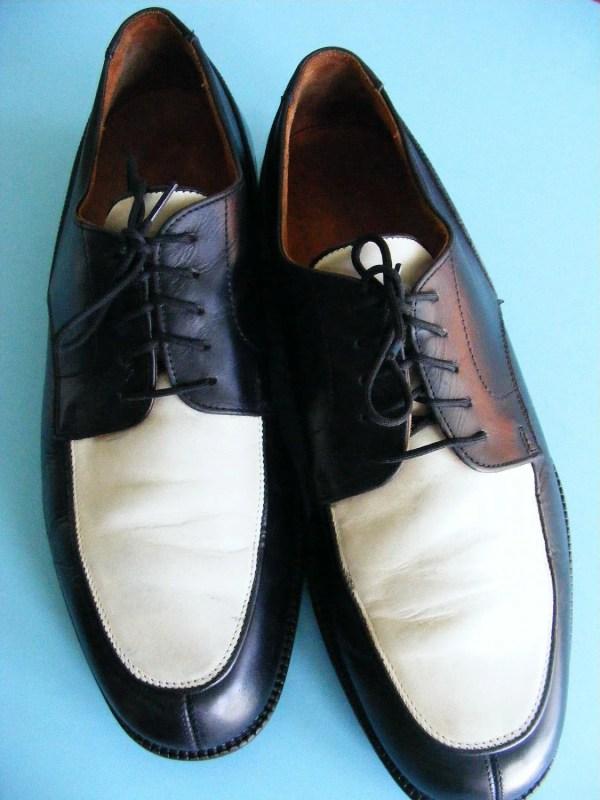 Vintage Men' Two Tone Black And White Shoes Retro Size 9
