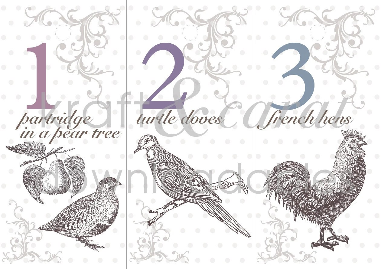 12 Days Of Christmas Printable Tags Labels In Pastel Tones