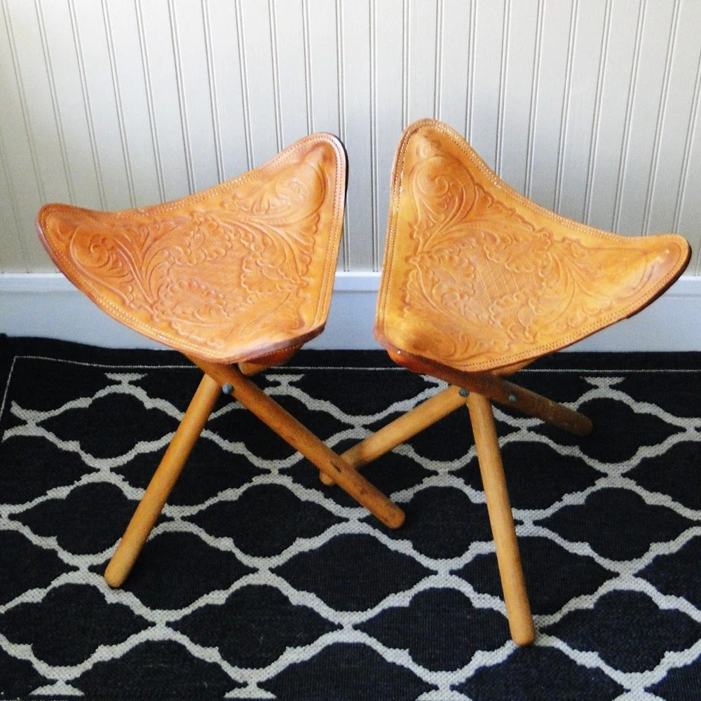 thomasville leather chair office top view vintage saddle inspired stools tooled ecelctic seating