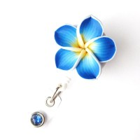 Ocean Blue Plumeria Retractable Badge Reel Flower Badge