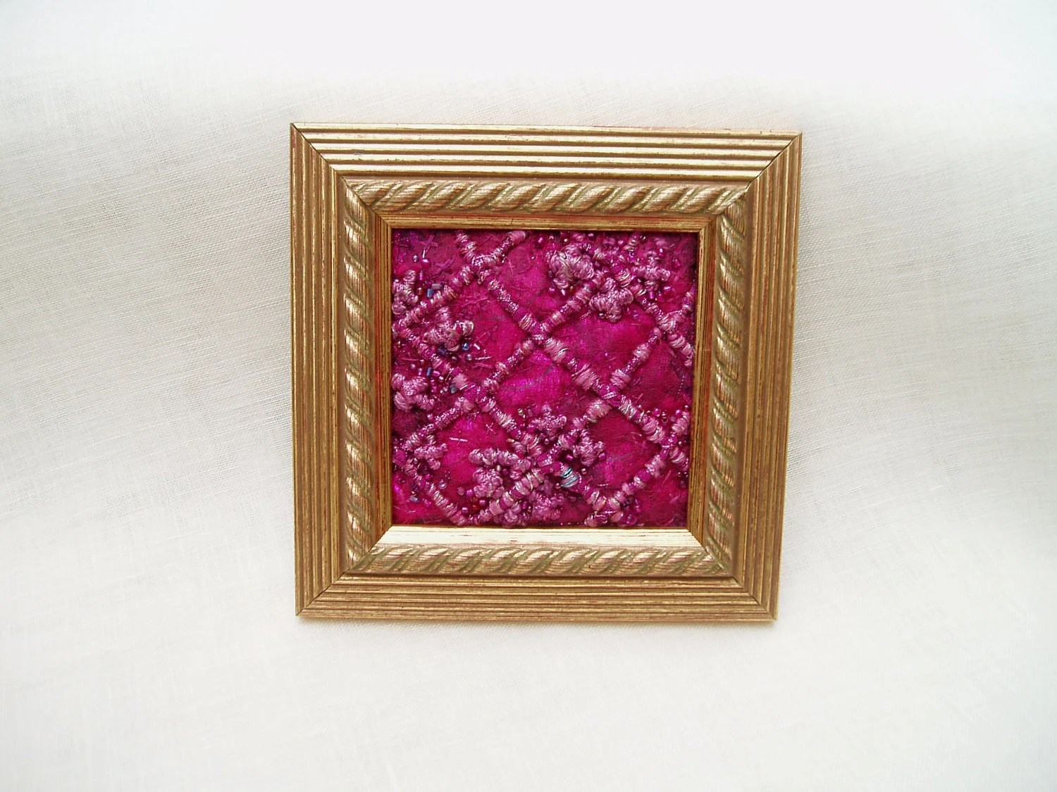 PICTURE FIBRE ART raspberry pink embroidered stitched textile fabric jewel like surface gold frame