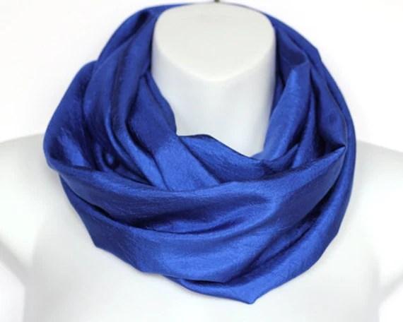Royal Blue Silk Essence Infinity Scarf