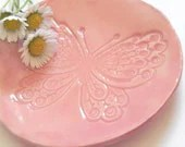 Butterfly Ceramic Plate, Pink Dish, Animal Ring Bowl, Eco Friendly Material in a Recycled Paper Box - Ceraminic