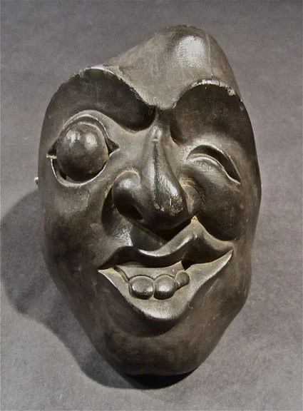 Antique Comical Japanese Noh Theater Mask