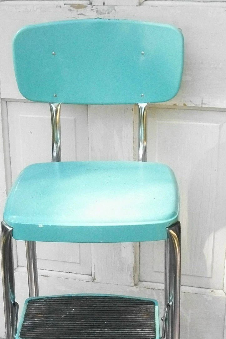 vintage cosco step stool chair pod swing turquoise and chrome like with