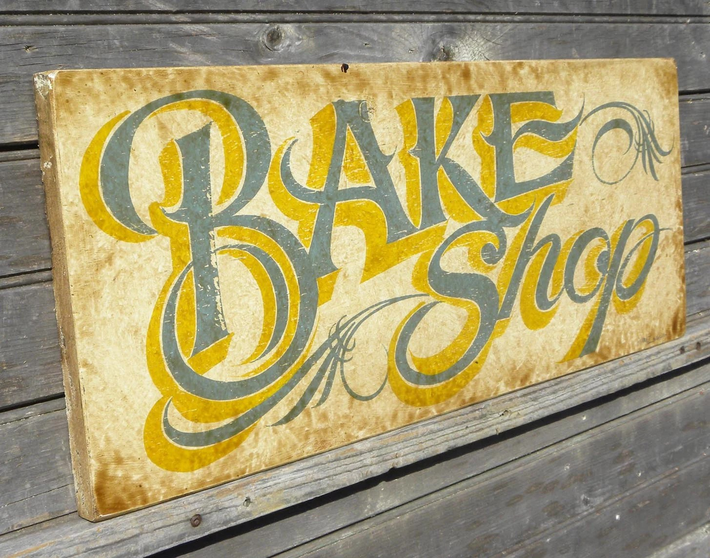 green apple kitchen decor counter rack bake shop sign faux vintage original hand painted wood