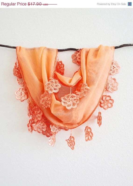Summer Sale Outrageous Orange Sheer Cotton Silver Lace Scarf - SistersLace