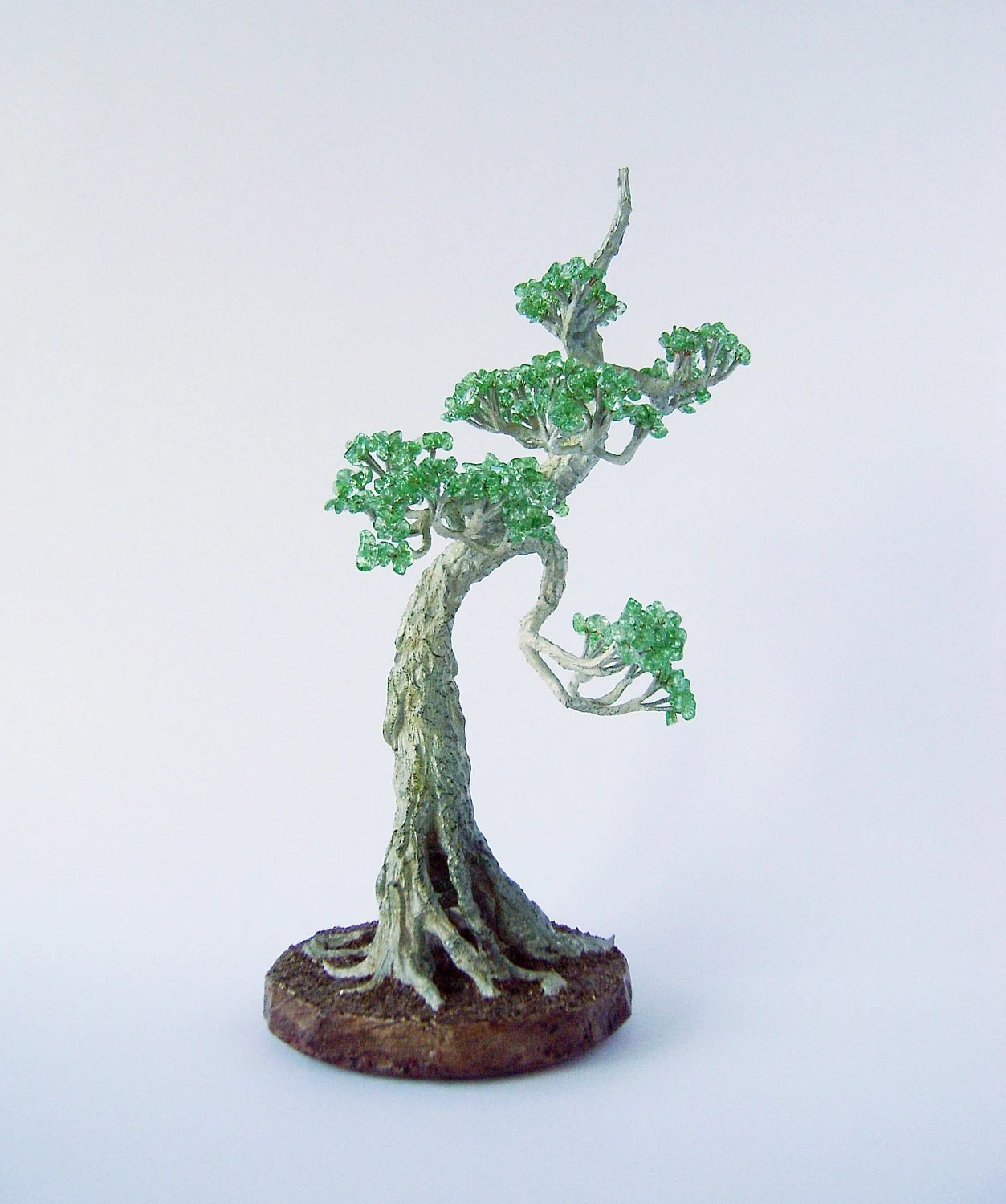 Japanese Chinese Bonsai Tree Wire Beaded Sculpture Home Decor