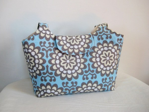 Large Tote In Amy Butler Blue And Cream Lotus Moxiebscloset