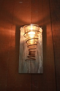 Tea Light Candle Wall Sconce with Rusty Spring and Vintage