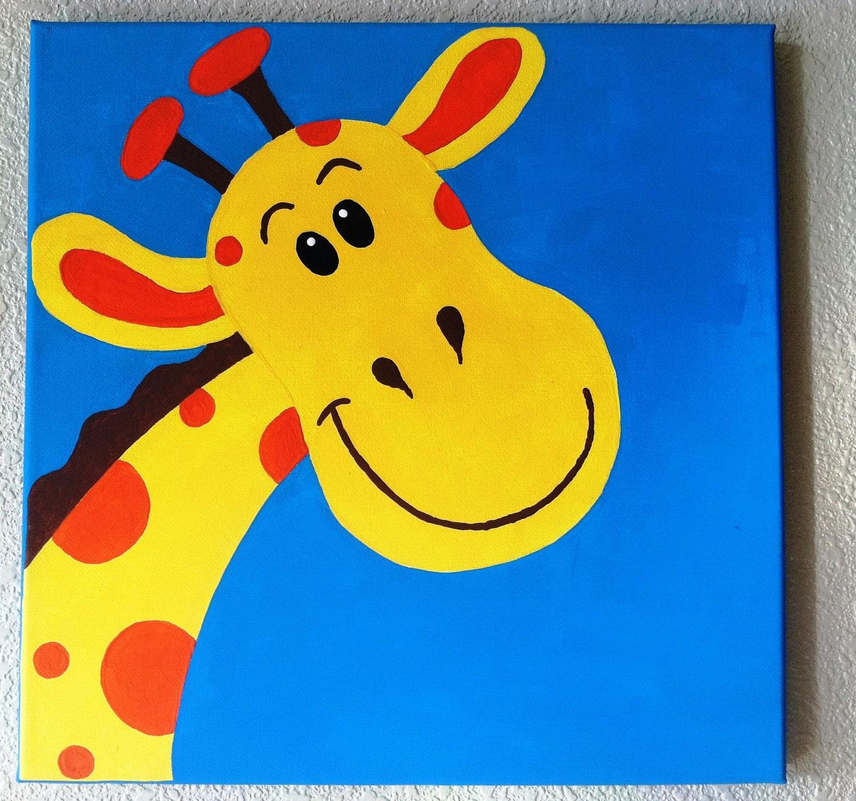Cute Peekaboo Giraffe Handpainted Acrylic Painting On