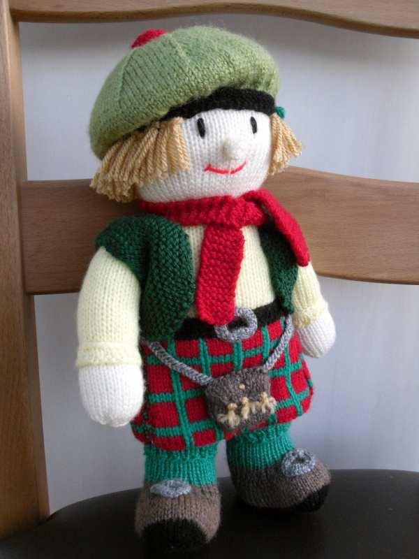 Knitted Toy Scottish Doll Man Elliebeardesign
