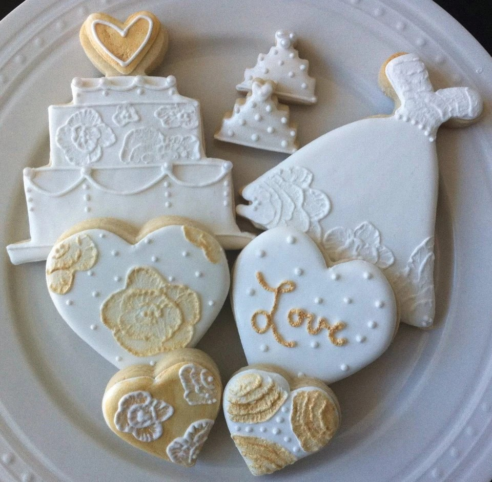 Decorated White and Gold Wedding Dress and Cake Cookies with