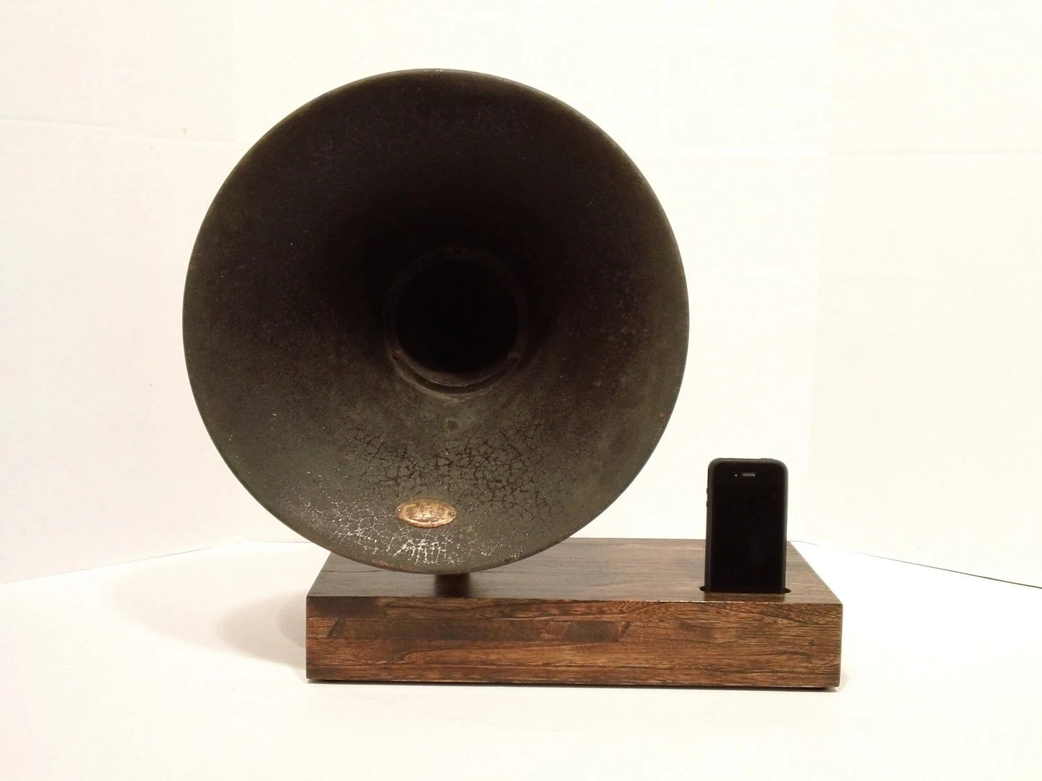 14 inch Atwater Kent  iPhone Speaker Dock Utilizing a Vintage Antique Gramophone Phonograph Horn -MADE to ORDER-