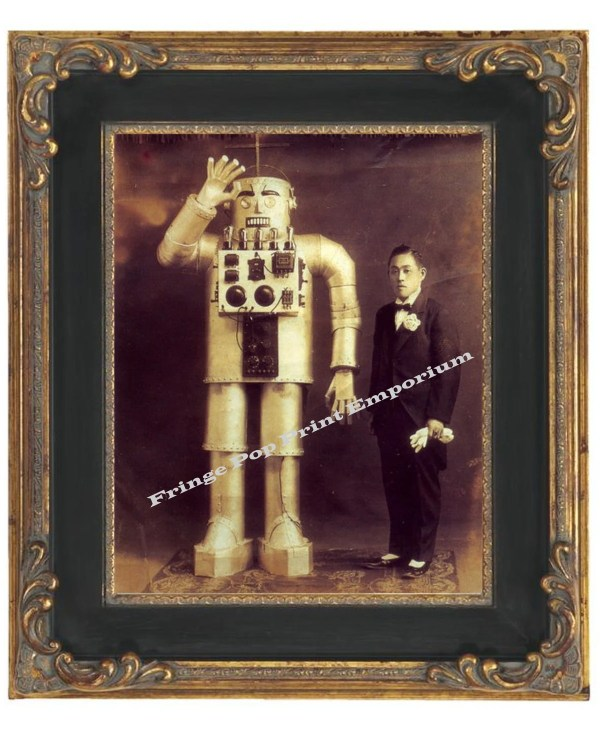 Victorian Japanese Man With Robot Steampunk Art Print 8 X 10
