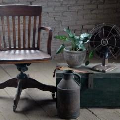 Antique Desk Chair Wheels Wedding Covers Yeovil Vintage Oak Office Swivel