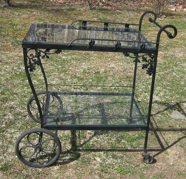 Vintage Woodard Wrought Iron Tea Cart