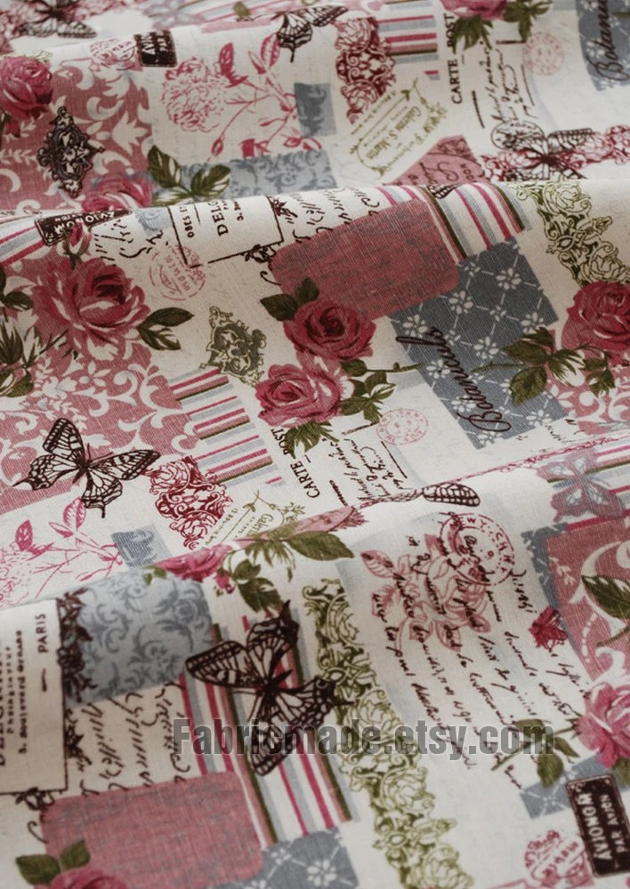 Vintage Fabric French Country Fabric Linen Cotton Fabric