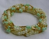 Gold 'N Mint 5 Strand Beaded Stretch Bracelet - Custom Made to Size - Nonoluna