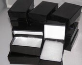20 pack Glossy Black Jewelry Boxes Cotton Filled Presentation Display Boxes size 2.5x1.5 - wrappingmeup