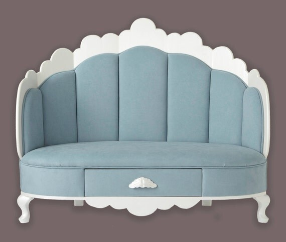 Blue suede Cloud shaped children's sofa  w drawer - Judio9