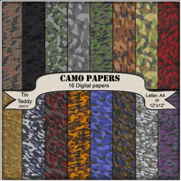 Camo Paper 16 Camouflage Digital Backgrounds