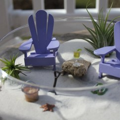 Miniature Adirondack Chairs Three Chair Bench Beach Vacation With A Tiny Shovel And Sand Bucket