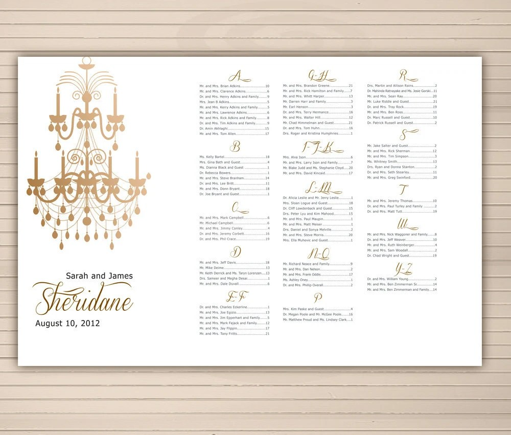 Items similar to DIY Seating chart Vintage style with chandelier Alphabetical order or table