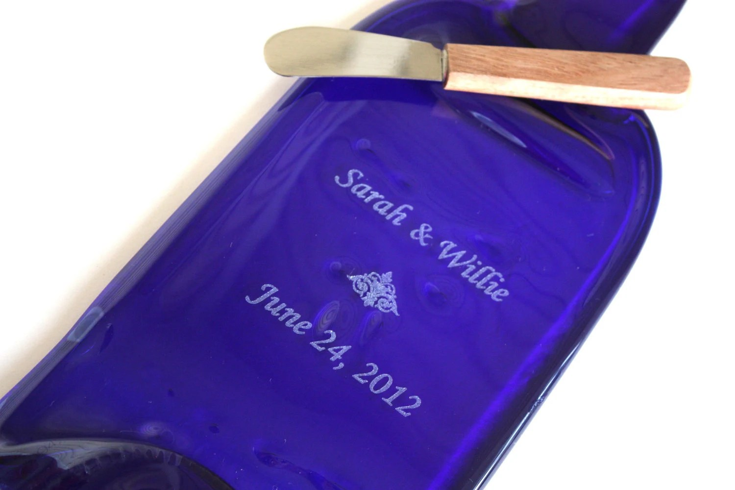 Cobalt Blue Engraved Personalized Gift Melted liquor bottle slumped bottle Flattened  cheese & cracker tray recycled bottle fused glass - BackGlasswards