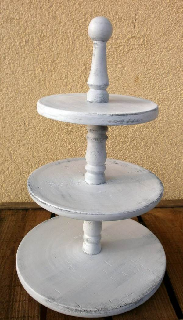 3 Tier Cupcake Stand Rustic White Wedding