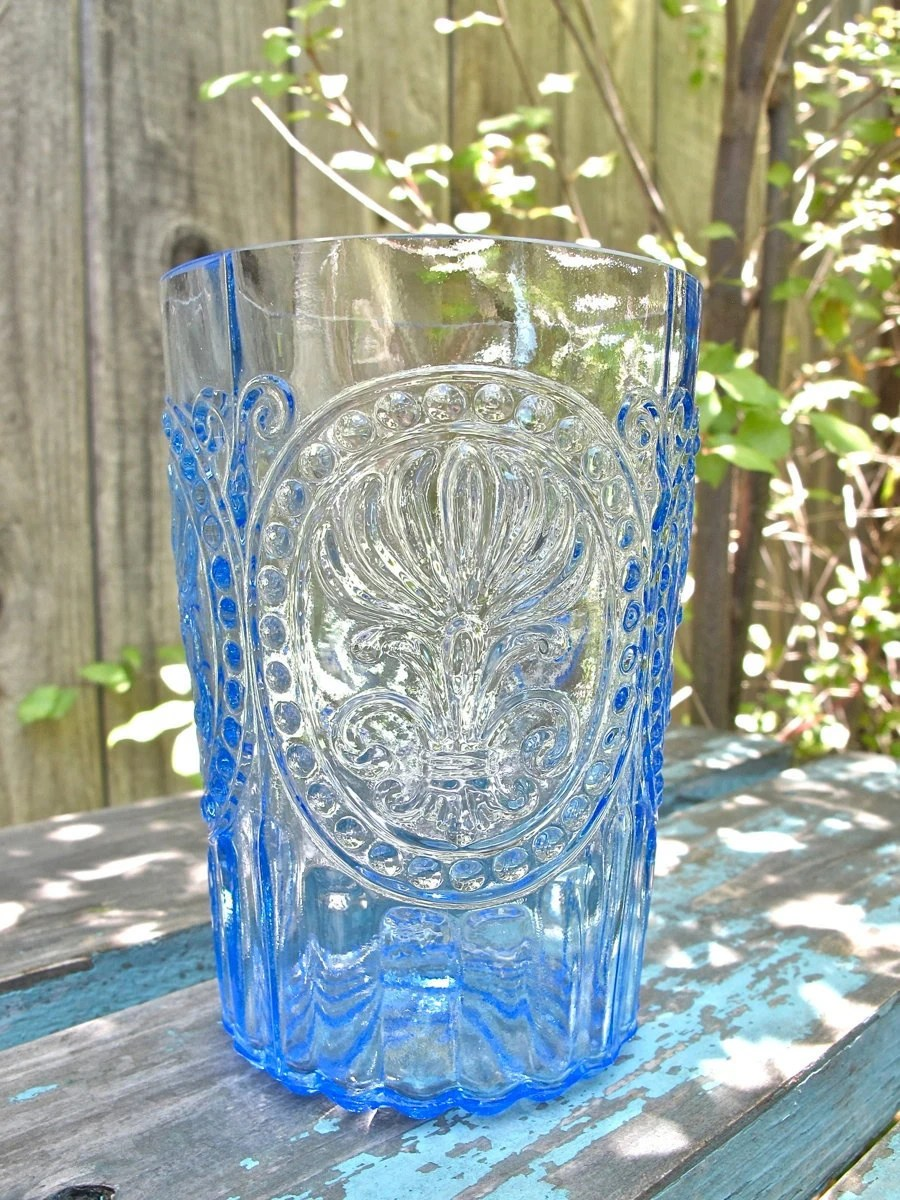 Vintage French Blue Glass Tumbler Pressed by UnderTheSycamores