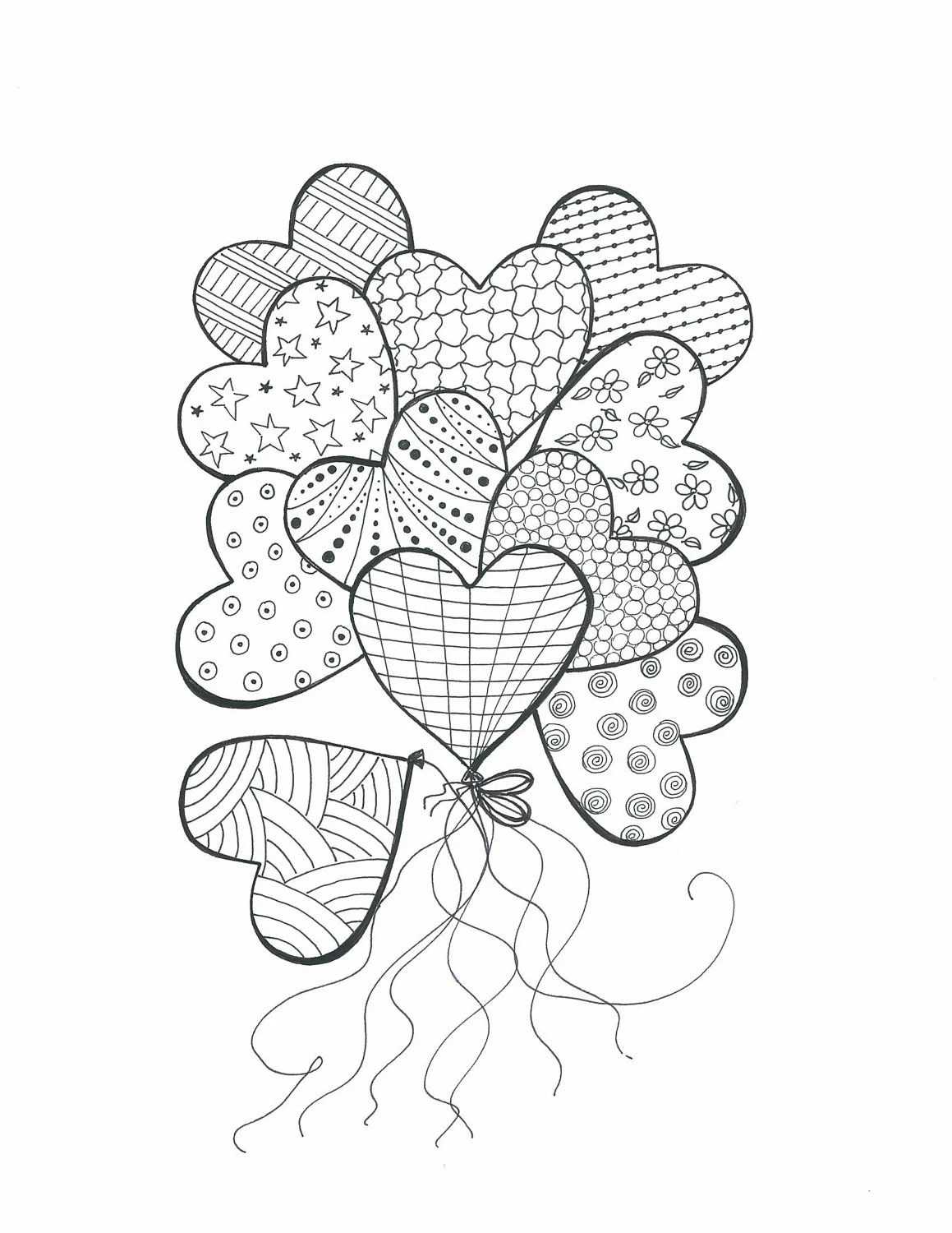 Items similar to Drawing for Coloring-Bouquet of Heart
