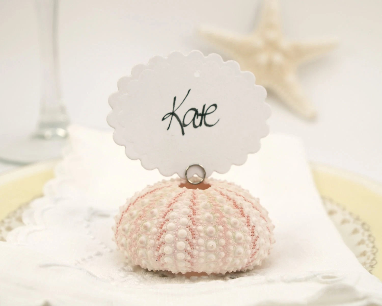 Beach Wedding Escort Cards, 10 Shell Guest Name Place Cards for your Wedding Table Decoration, Pink Urchin Shabby Chic, Sea - FairyfolkWeddings