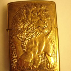 Rolling Island For Kitchen Remodel Pictures Vintage Zippo Lighter In Brass With Embossed Lion