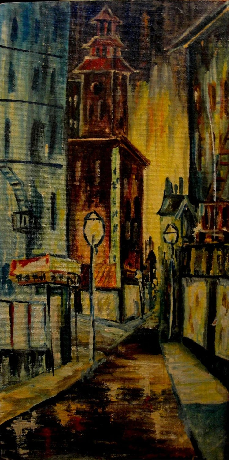 Vintage Oil Painting 1940s City of Lights wonderful colors of