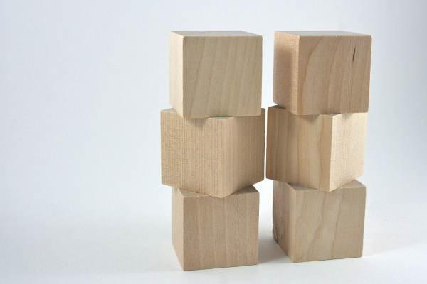 6 Unfinished Wood Blocks 1.5 38mm Wooden