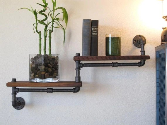 Industrial Plumbing Pipe Shelf - Double Walnut