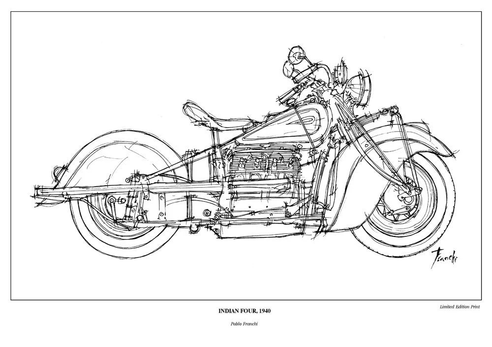 Indian Four 1940 Vintage sketch of this amazing machine