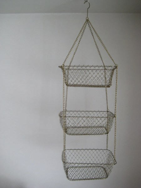 hanging kitchen basket Three-tier hanging basket wire kitchen storage