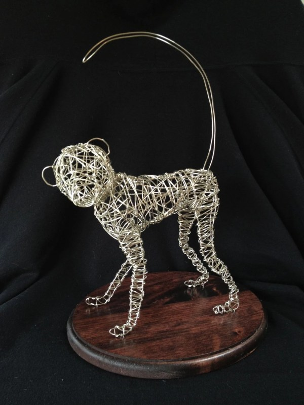 Silver Coated Wire Sculpture Of Monkey