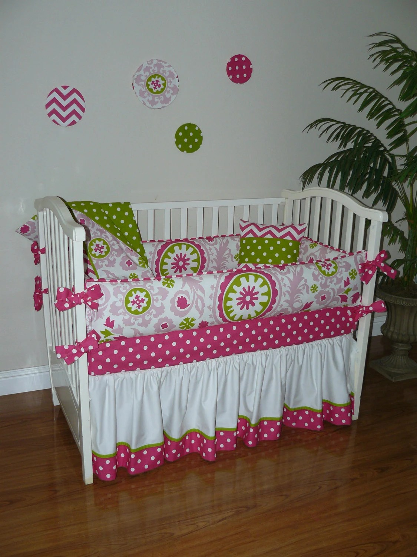 Custom Crib Baby Bedding 5pc Set Hot Pink White  Green