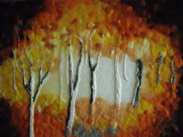 Contemporary Fiber Wall Art Wet Felted Abstract Trees