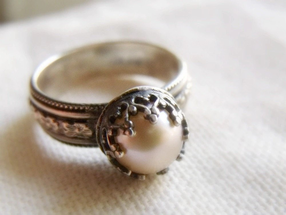 Crown Pearl Ring Sterling Silver Wide Floral Band Peach