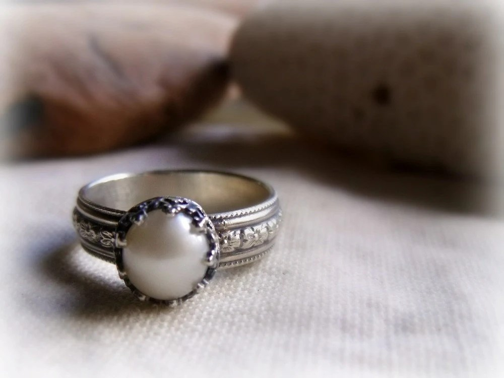 Pearl Engagement Ring Sterling Silver Crown Setting Wide